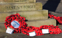 Wreaths at War Memorial. A war memorial is a building, monument, statue or other edifice to celebrate a war or victory, or (predominating in modern times) to Royalty Free Stock Photography