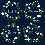 Wreaths with white flowers and herbs Royalty Free Stock Photography