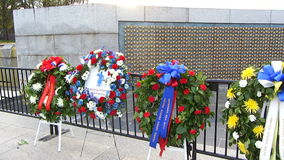 Wreaths at the WWII Memorial Royalty Free Stock Images