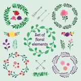 Set of spring floral design elements. Wreats, roses, leaves and arrows. Perfect for spring or summer invitation, Valentine`s, wedding and birthday greeting Stock Photos