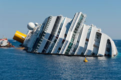 The wreck. Of a large cruise ship Royalty Free Stock Photos