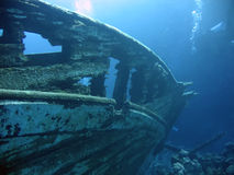 Wreck. Underwater landscape with boat fragments. The Red Sea stock photography