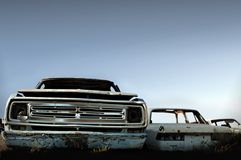 Wreck. Sunny day. Cloudless sky  Some rotten cars Stock Photography