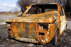 Wreck. Burned car of the parking lot stock images