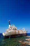 Wreck abandoned cargo ship Stock Photos