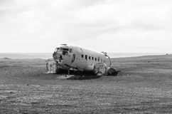 Wreck of an airplane. Found in southern Iceland stock images