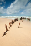 Wreck on australian beach during the day Royalty Free Stock Photos