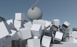 Wreck it ball going through wall of boxes Stock Photography