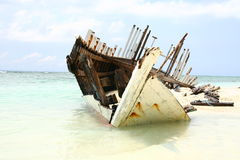 Ship wreck on the beach Stock Photography
