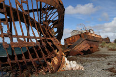 Wreck on the beach. Wreck on a beach of Straits of Magellan royalty free stock images