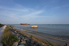 Wreck at Black Sea shore. In summer Royalty Free Stock Images
