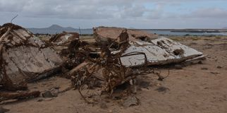 Wreck of boat on beach at Cape Verde royalty free stock image