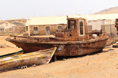 Wreck boat cape verde Royalty Free Stock Photos
