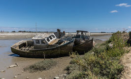 Wreck at the boat cemetery Royalty Free Stock Photo