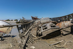 Wreck at the boat cemetery Royalty Free Stock Photos