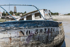 Wreck at the boat cemetery Royalty Free Stock Photography