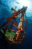 Wreck. Bottom view of the ship wreck and silhouette of the snorkeler on the surface Stock Photography