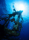 Wreck. Bottom view of the ship wreck and silhouette of the snorkeler on the surface Stock Images