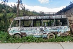 Wreck of a bus in Leimebamba, Pe. Ru stock image