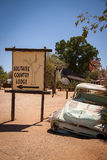 Wreck of Car next to Town Sign of Solitaire, Namibia Stock Image