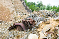Wreck Car in Oradour sur Glane Royalty Free Stock Photos