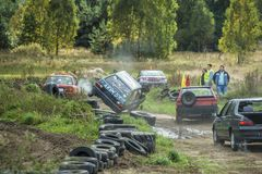 Wreck car racing. IGANIE, POLAND 29 SEPTEMBER, Wreck Car Racing Championship Finals on 29 September 2013 in Iganie, Poalnd royalty free stock images