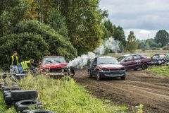 Wreck car racing. IGANIE, POLAND 29 SEPTEMBER, Wreck Car Racing Championship Finals on 29 September 2013 in Iganie, Poalnd royalty free stock photos
