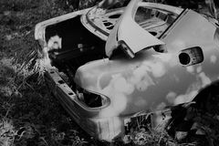 Wreck. Car wreck in black and white Stock Images