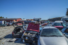 Wreck cars on a scrap yard Royalty Free Stock Photo