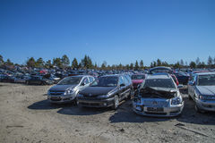 Wreck cars on a scrap yard Royalty Free Stock Image