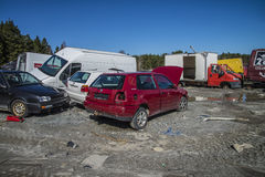 Wreck cars on a scrap yard Stock Photos