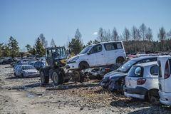 Wreck cars on a scrap yard Stock Photo