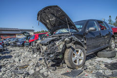 Wreck cars on a scrap yard Royalty Free Stock Images