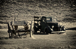 Wreck of cart and pick up in the ghost town of Bodie - California Stock Photography