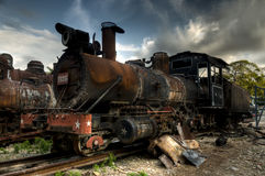 Wreck of communist locomotive in Havana, Cuba Royalty Free Stock Images