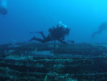 Wreck Divers. Divers exploring a wreck off the Florida coast Stock Image