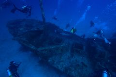 Wreck diving. In Maldives. Deep diving royalty free stock photos