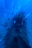 Wreck diving. In Maldives. Deep diving stock images