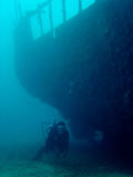 Wreck explorer scuba diver philippines royalty free stock images