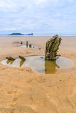 Wreck of the Helvetia on Rhossili Beach, Gower, South Wales, UK Stock Photography
