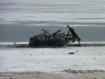 Wreck on ice. Wrecked items on ice at salt lake Royalty Free Stock Photos
