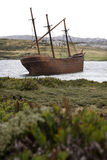 Wreck of the Lady Elizabeth - Falklands. Wreck of the Lady Elizabeth in Whalebone Cove near Stanley in the Falkland Islands Stock Image