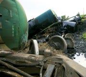 Wreck of oil tanks Royalty Free Stock Photos