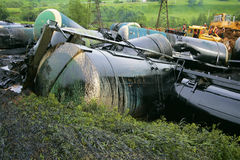 Wreck of oil tanks Royalty Free Stock Images