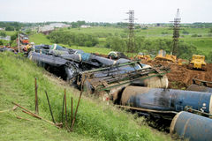 Wreck of oil tanks Stock Photos
