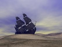 Wreck old boat. On the sand by cloudy weather Royalty Free Stock Image