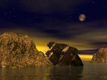 Wreck old boat. In the sea by yellow starry night Stock Image
