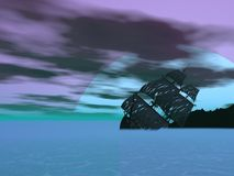 Wreck old boat - 3D render. Wreck old boat in the sea by cloudy night with big full moon Royalty Free Stock Photo