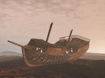 Wreck old boat on the sand - 3D render. Wreck old boat on the sand by cloudy sunrise light Stock Images