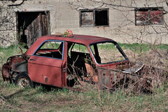 Wreck. An old fashion red wreck Royalty Free Stock Photos